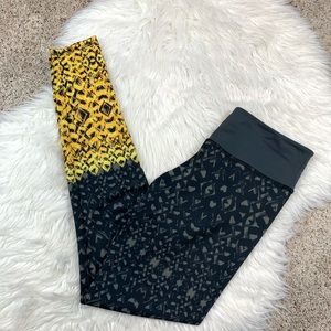 Onzie Gray Yellow Print Full Length Leggings s/m